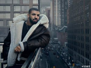 Drake over looking the streets of Toronto