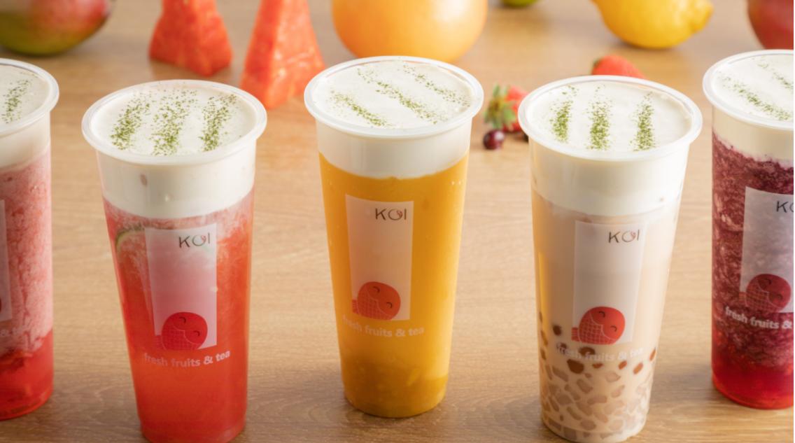 A colourful selection of bubble tea drinks made by Koi Fresh Fruits and Tea as an entry into the Calgary Bubble Tea Festival