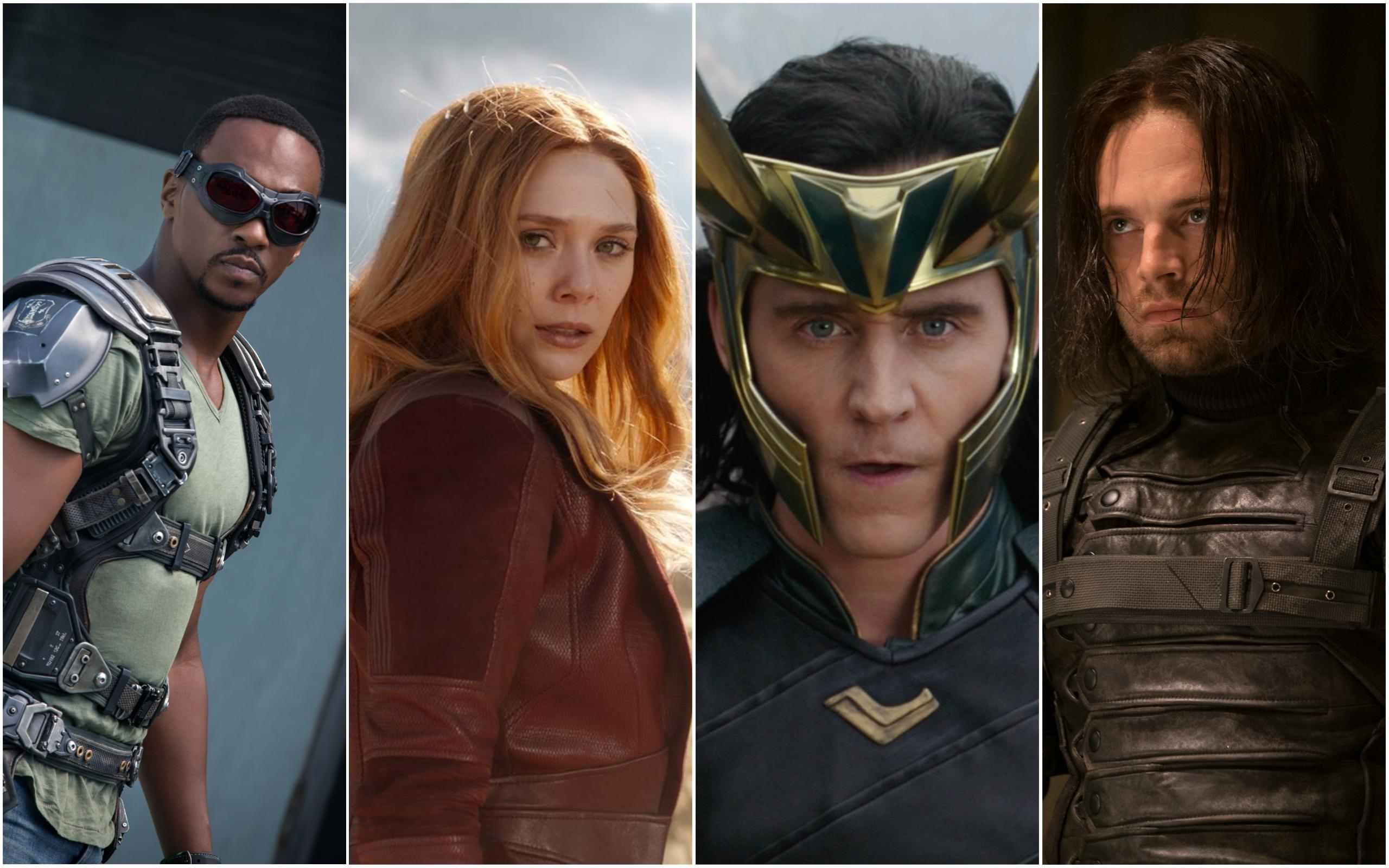 Falcon, Scarlett Witch, Loki and Winter Soldier of the mcu cropped together